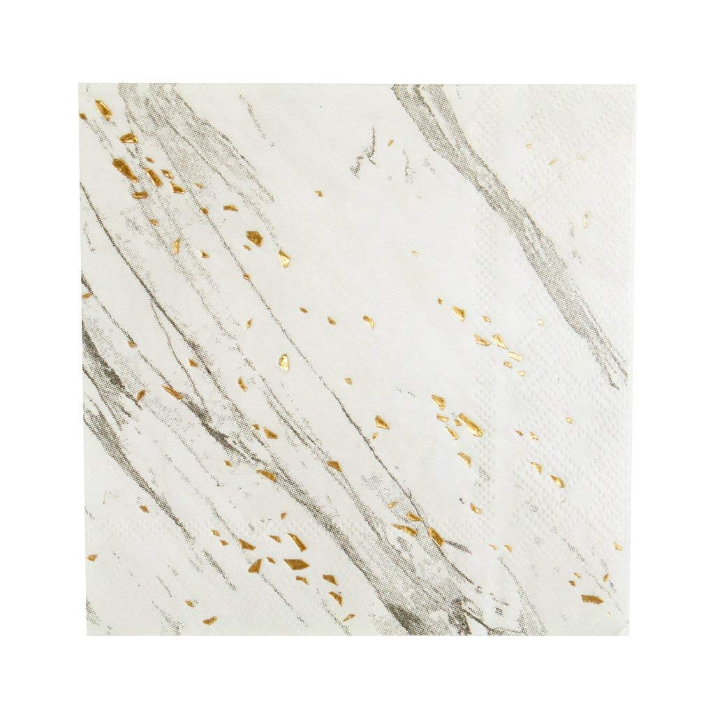 White Marble w Gold Lunch Paper Napkins - Birthday, Wedding, Showers Party Napkins - Harlow & Grey Blanc (60 count)