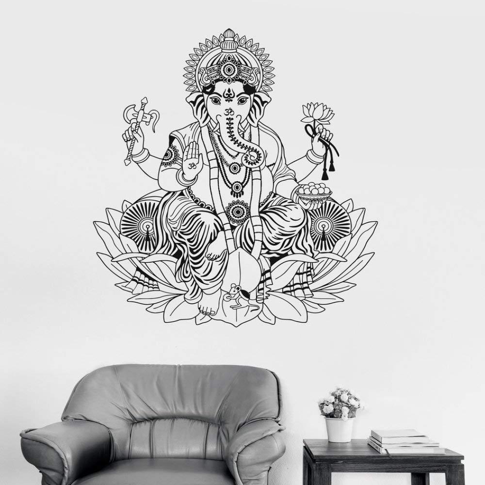 JXAA Vinilo Tatuajes de Pared Lotus Hinduismo Dios hindú Ganesha ...