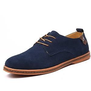 OUOUVALLEY Men's Suede Leather Oxford Flats Shoe K01 (10.5 D(M) US, Black)
