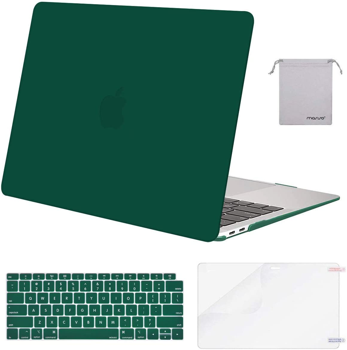 MOSISO MacBook Air 13 inch Case 2020 2019 2018 Release A2179 A1932 with Retina Display, Plastic Hard Shell&Keyboard Cover&Screen Protector&Storage Bag Compatible with MacBook Air 13, Peacock Green