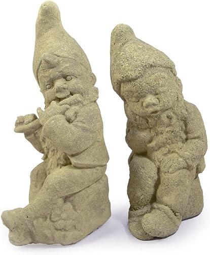 Modern Artisans Set of 2 Vintage-Style Gnome Cast Stone Garden Statue