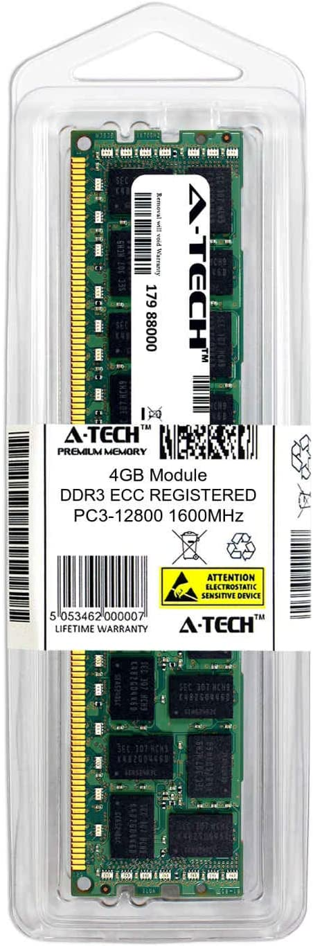 Single Server Memory Ram Stick 713981-B21-ATC A-Tech 4GB Replacement for HP 713981-B21 DDR3//DDR3L 1600MHz PC3-12800 ECC Registered RDIMM 1rx4 1.35v