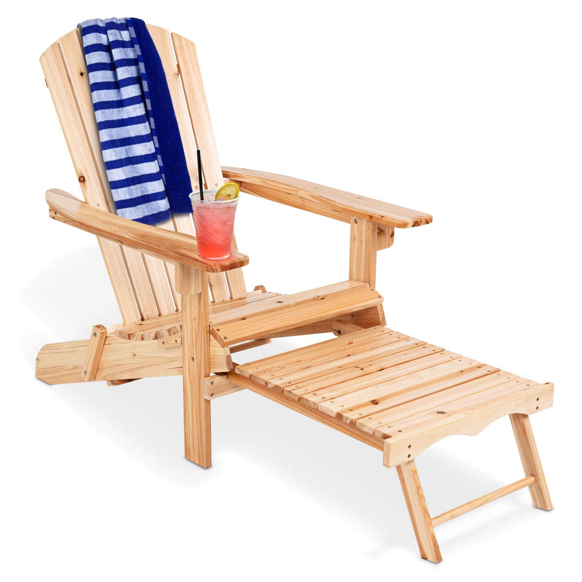 Giantex Adirondack Chair Foldable with Pull-Out Footrest, Outdoor Modern of 100% Solid Wood for Patio Decor Lawn Garden Porch Balcony, Large Wooden Folding Adirondack Chairs by Giantex