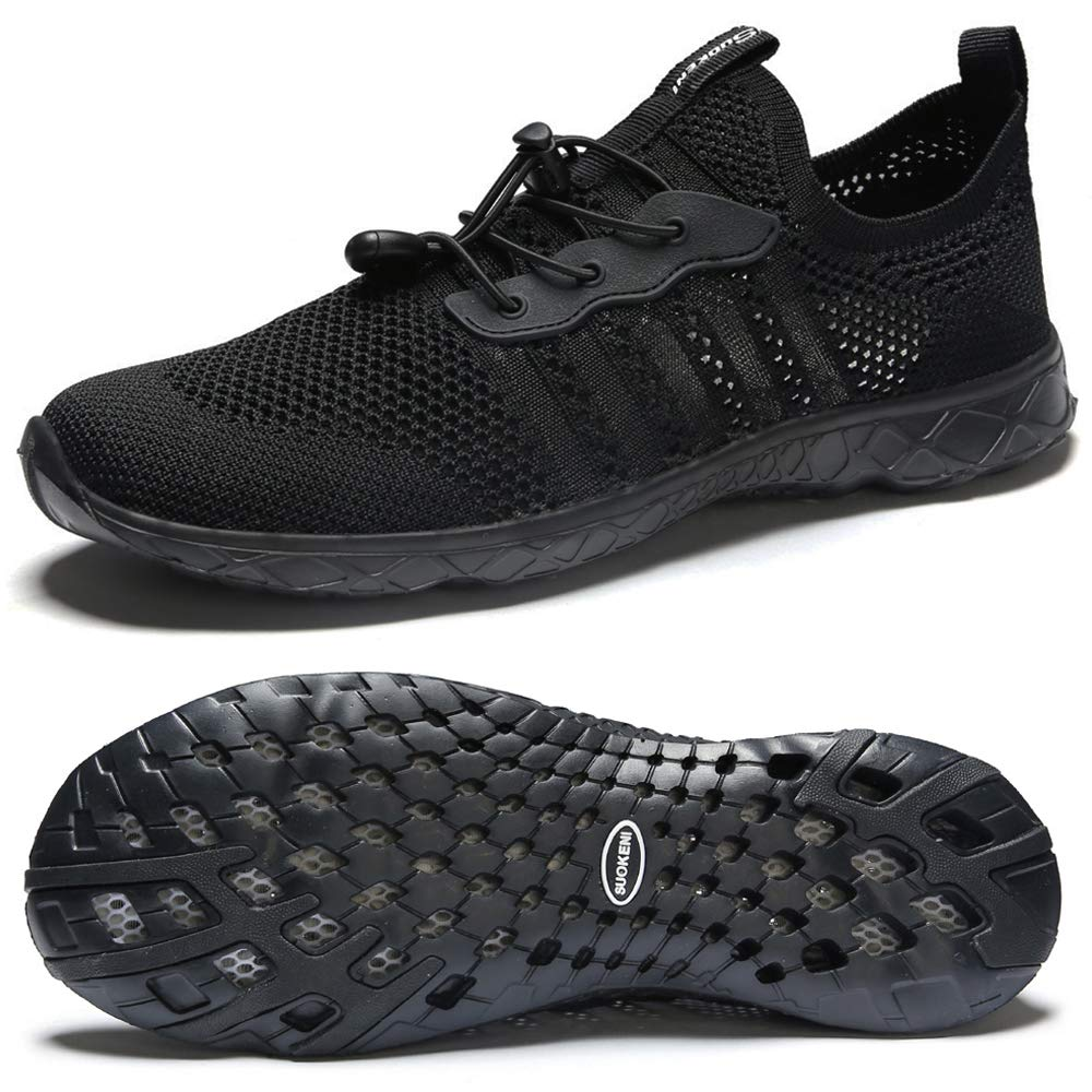 SUOKENI Women's Quick Drying Slip On Water Shoes for Beach or Water Sports Allblack,Size:US 11/EU 42 by SUOKENI