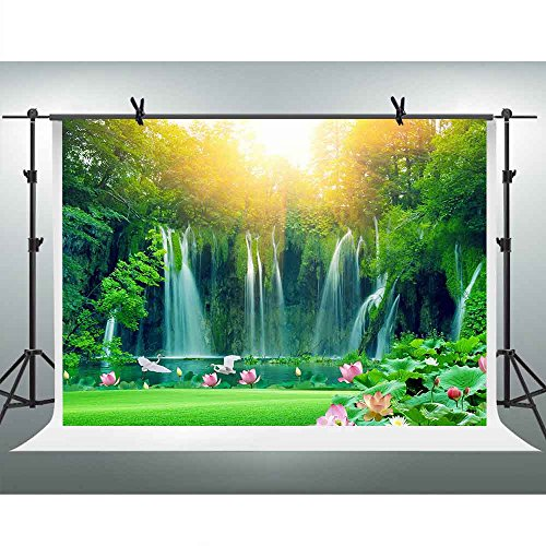 FHZON 10x7ft Waterfall Backgrounds for Photography Green Trees Forest Lotus Lake Sunshine Backdrop Travel Picture Wallpaper Decoration Photo Booth Video Prop TMFH021 (Wallpaper Waterfall)
