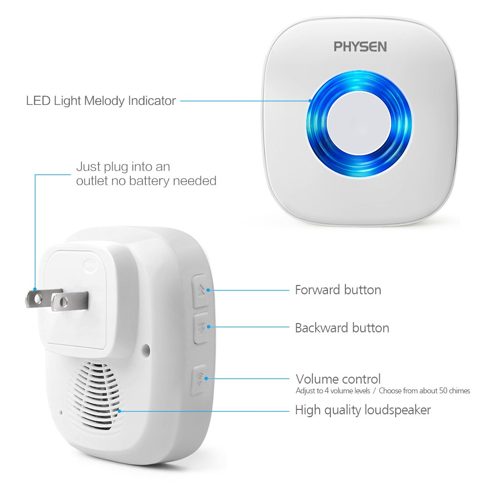 PHYSEN Wireless Door Motion Sensor Alarm,Door Open Chime Detect Alert, Home Security Door Entry Chime with 1 Motion Sensor and 1 Receiver,400ft Range,52 Chimes,4 Volume Levels,Build in LED Indicators by Physen (Image #7)