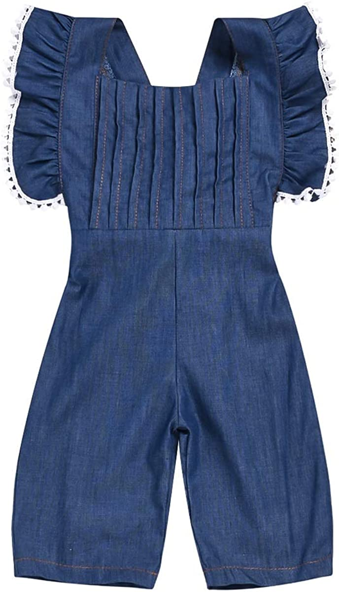 Camidy Baby Todder Girl Ruffle Sleeve Bell Bottom Demin Romper Jumpsuit Jeans Pants
