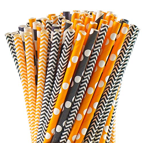 HANSGO Paper Straw Decorations,200 Pack Paper Straws Biodegradable Drinking Stripe Dot Straw Mix for Wedding Supplies and Halloween,Thanksgiving Party Favors,10 different Styles