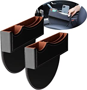 Maodaner Universal 2PCS Car Seat Gap Filler Premium PU Leather Seat Console Organizer, Car Pocket, Interior Accessories, Seat Crevice Storage Box for Smartphone Coin Wallet Key (Black with White Line)
