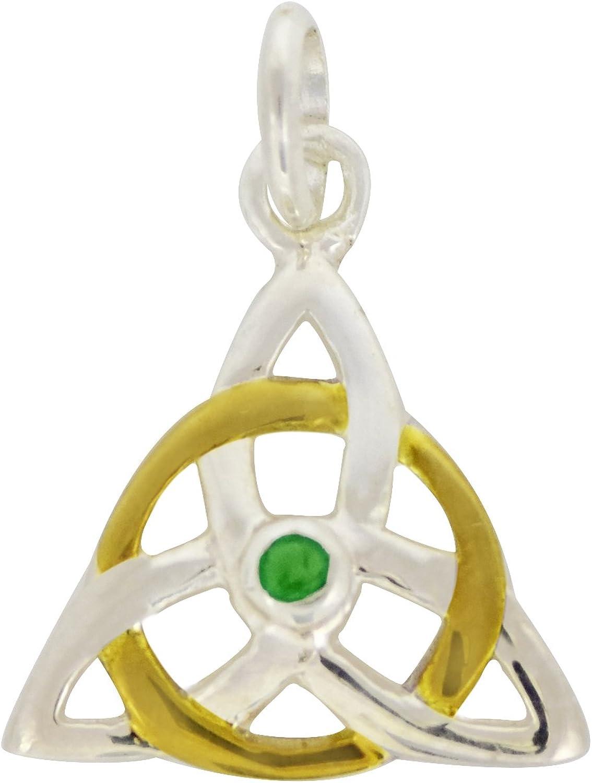 Shine Jewel Triquetra colgante de plata de ley 925 con piedras preciosas esmeralda para mujer Esmeralda