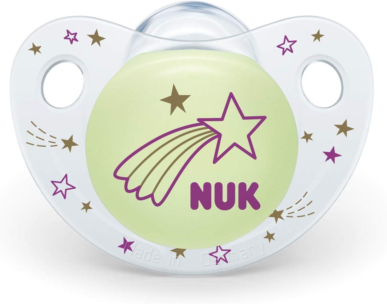 NUK 10177129 Night & Day - Chupete de silicona (forma adaptada a la mandíbula, 18-36 meses, 2 unidades), color morado: Amazon.es: Bebé