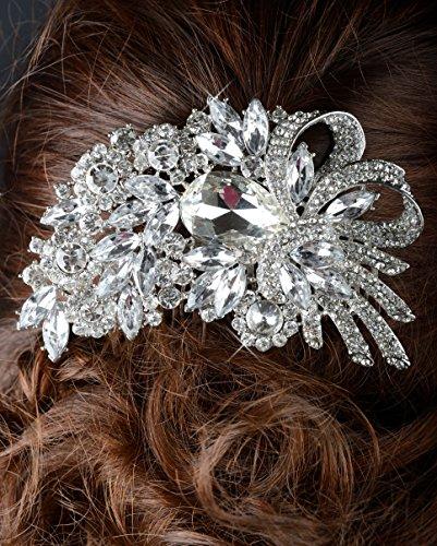 Large Crystal Rhinestone Flower Bouquet Wedding Comb