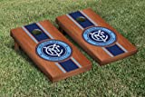 New York City MLS Soccer Cornhole Game Set Rosewood Stained Stripe Version