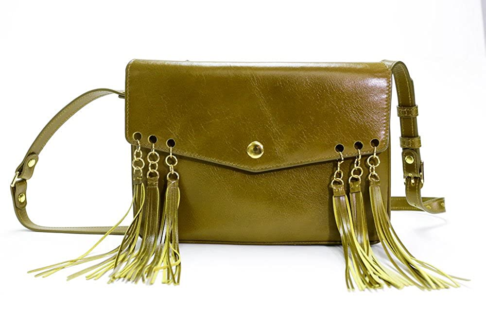 Olive Green Bohemian Party Bag  Lifetime durability Genuine Leather