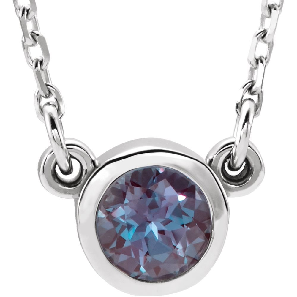 FB Jewels 925 Sterling Silver Imitation Alexandrite 16 Necklace