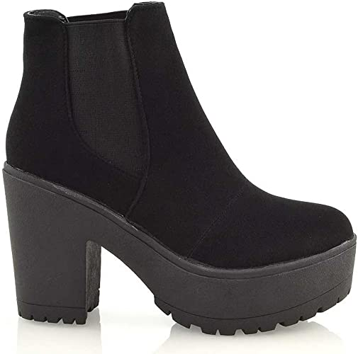 Ladies Chelsea Ankle Boots Womens Chunky Sole Block Heels Winter Work Shoes Size