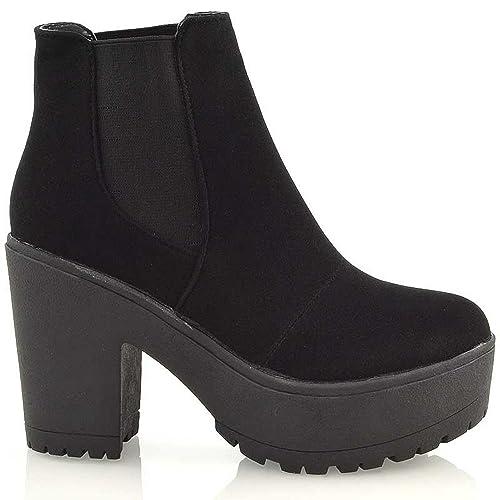 a202bd9c4b ESSEX GLAM Mujer Grueso Suela Dentada Plataforma Mujer Tacón EN Bloque  Motero Botines Chelsea  Amazon.es  Zapatos y complementos