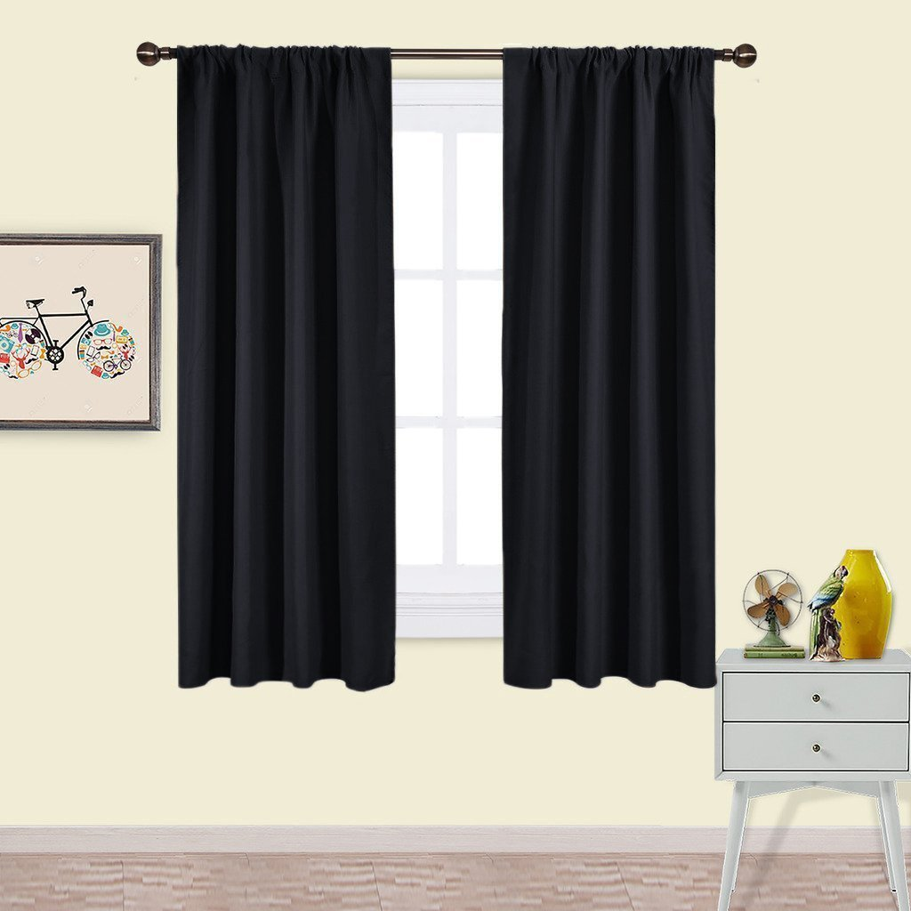 Nicetown Black Blackout Curtains Panels - Solid Thermal Insulated Window Treatment Blackout Drapes / Draperies for Bedroom