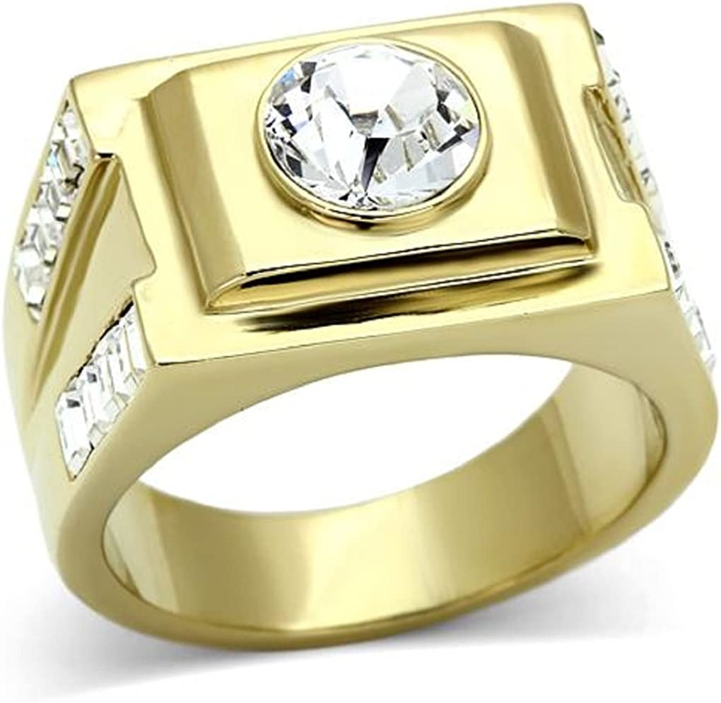 Doublebeez Jewelry Mens Yellow Gold Tone IP Clear simulated Stone Wedding Band Ring
