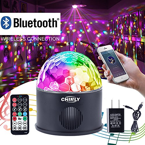 - CHINLY LED Disco Ball Light MP3 Music Bluetooth Speaker USB Portable 9W 9color Modes Dance Hall Strobe Light Mini LED Stage Light Party Light for Wedding Party Bar Club DJ KTV (with Remote & US Plug)
