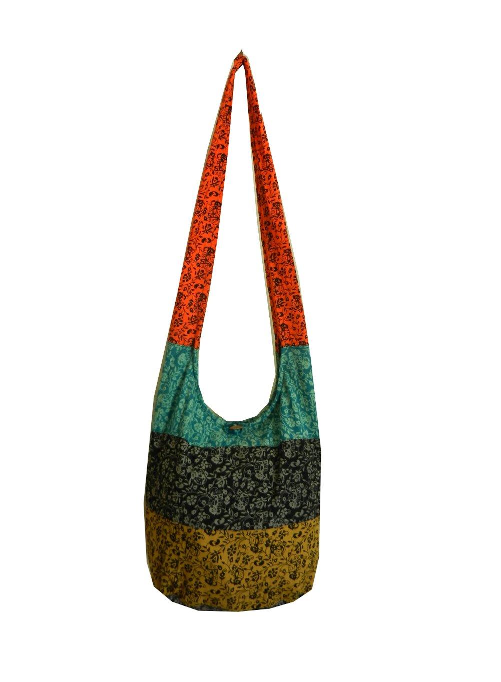 BenThai Products Hippie Hobo Sling Crossbody Bag Messenger Purse, Elephant Floral, Assorted Color