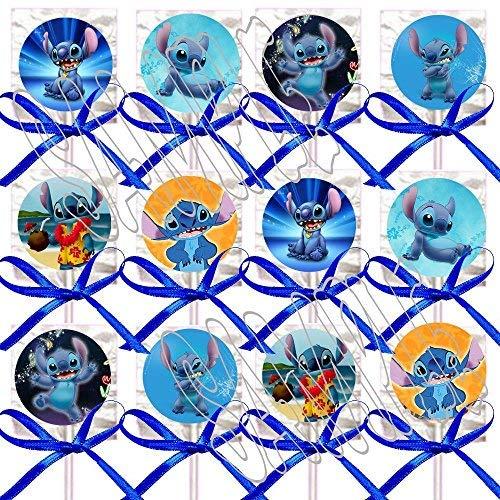 ((Lilo &) Stitch ONLY Party Favors Supplies Decorations Disney Movie Lollipops w/ Blue Bows Party Favors -12)
