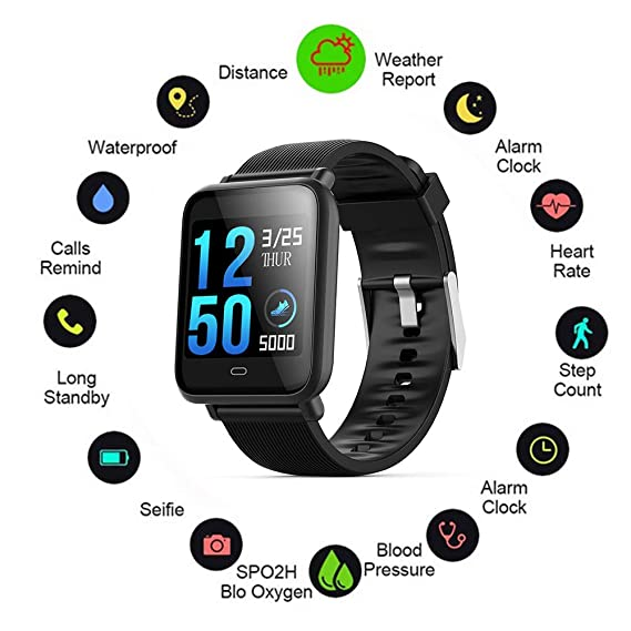 Amazon.com: Smartwatch,Q9 Blood Pressure Smartwatch (15 Days ...