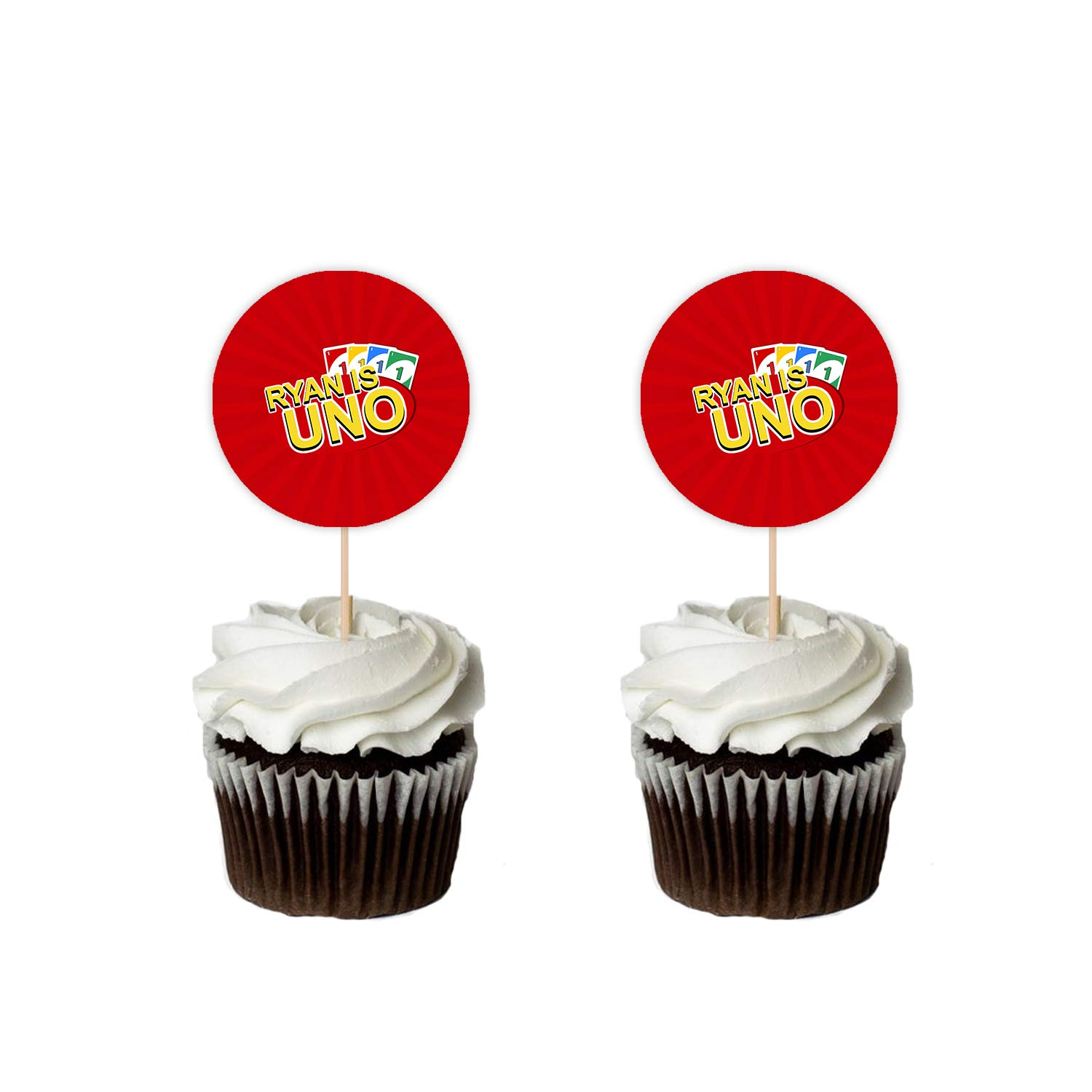 Uno Birthday Cupcake Toppers