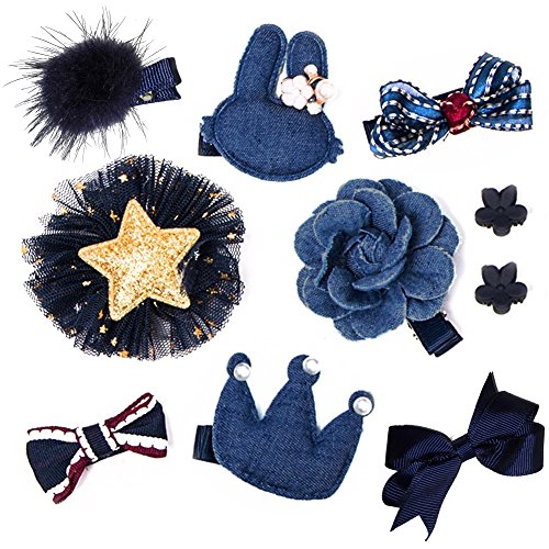 Fashion Boutique 10pcs Baby Hair Clips for Fine Hair No Slip 0-6 Edges Hair Barrettes Bow Hair Accessories for Baby Infant Toddlers Girl Birthday Christmas Gift (Denim Blue)