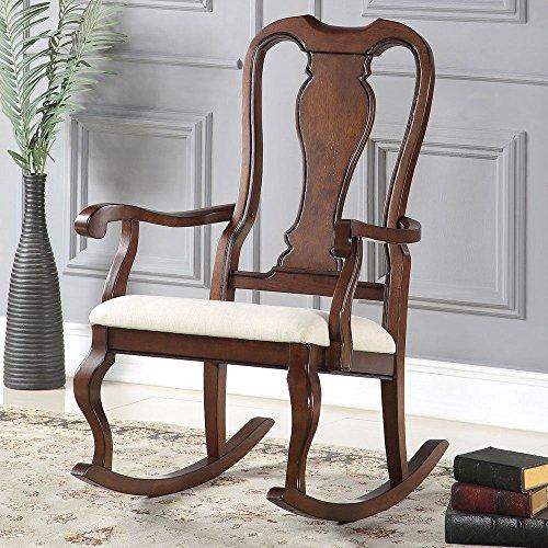 [1PerfectChoice Sheim Queen Anne Accent Rocking Chair Wood in Cherry Finish Beige Seat Cushion] (Cherry Wood Rocking Chair)
