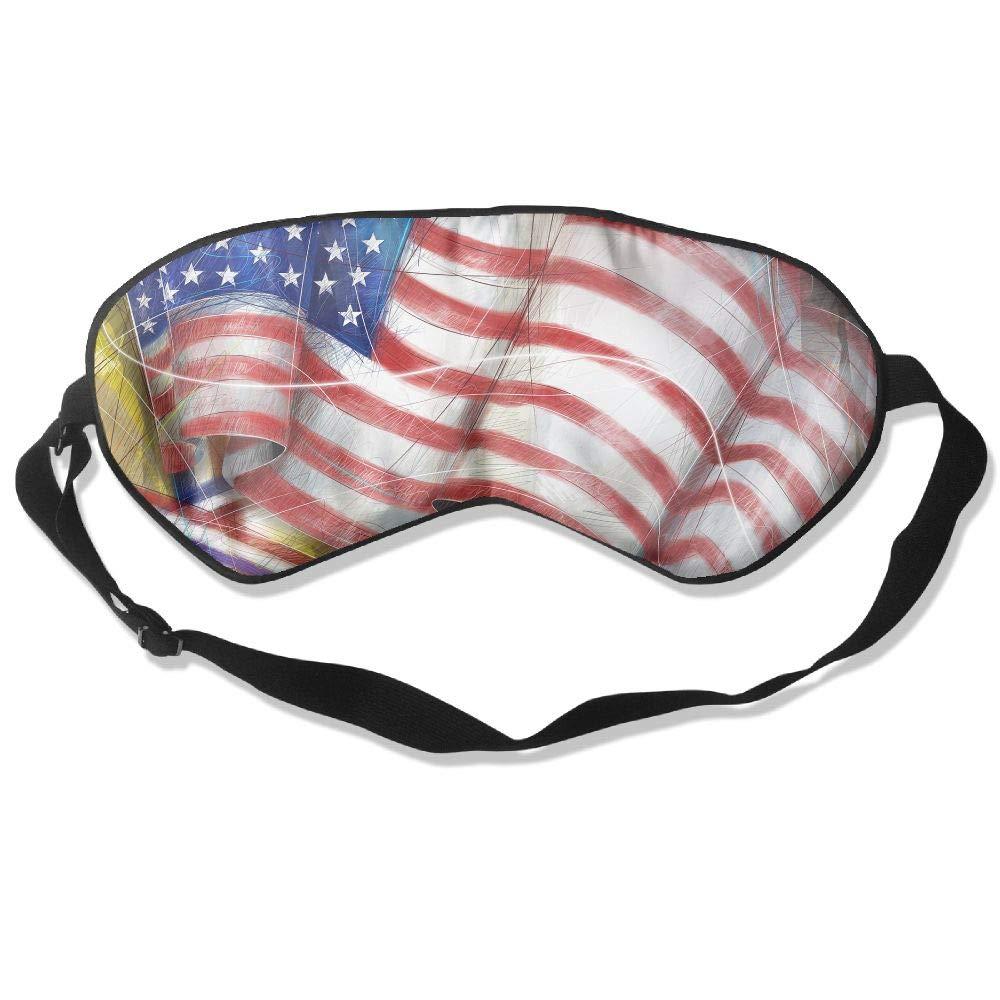 Sleep Eye Mask Blindfold American Flag Natural Silk Eye Pillow for Travel Airplane