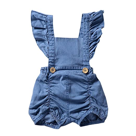 f48681602e2d4 Amazon.com  Kids Denim Ruffles Romper Outfits