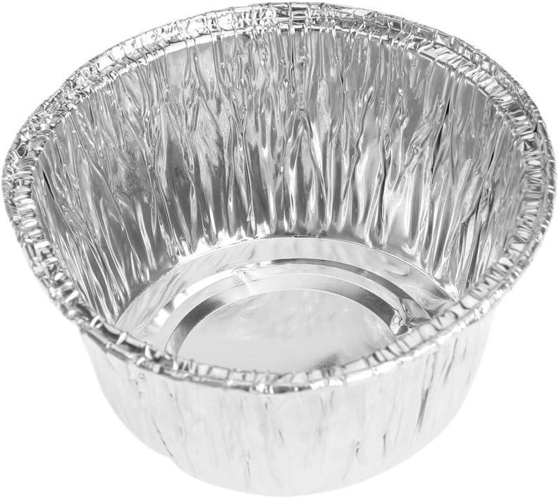 Molde de tarta de huevo - SODIAL(R)Molde de tarta de huevo de Magdalena de taza Mollete Galleta hornada Papel de aluminio desechable Molde de tarta de huevo redondo 150pzs