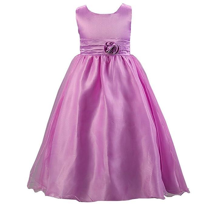 Waboats Vestido Fiesta de Princesa para Niña Boda Disfraz Velada Noche Carnaval 6T Morado