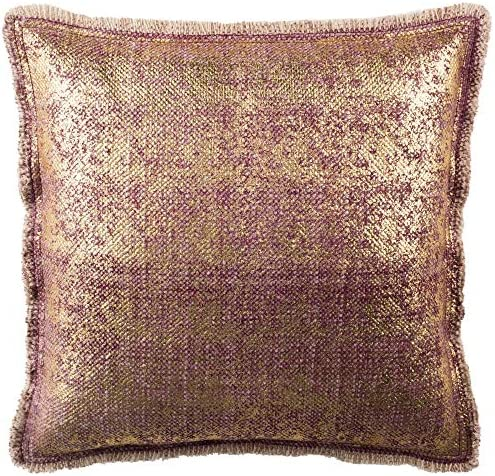 Safavieh Collection Metallic Sponge 20 Square Throw Pillows, Dusty Raspberry