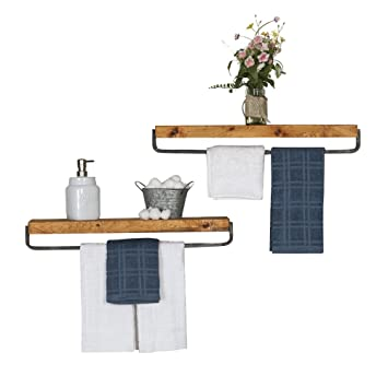 Del Hutson Designs   Rustic Luxe Towel Holder Floating Shelves (Set Of 2)  USA
