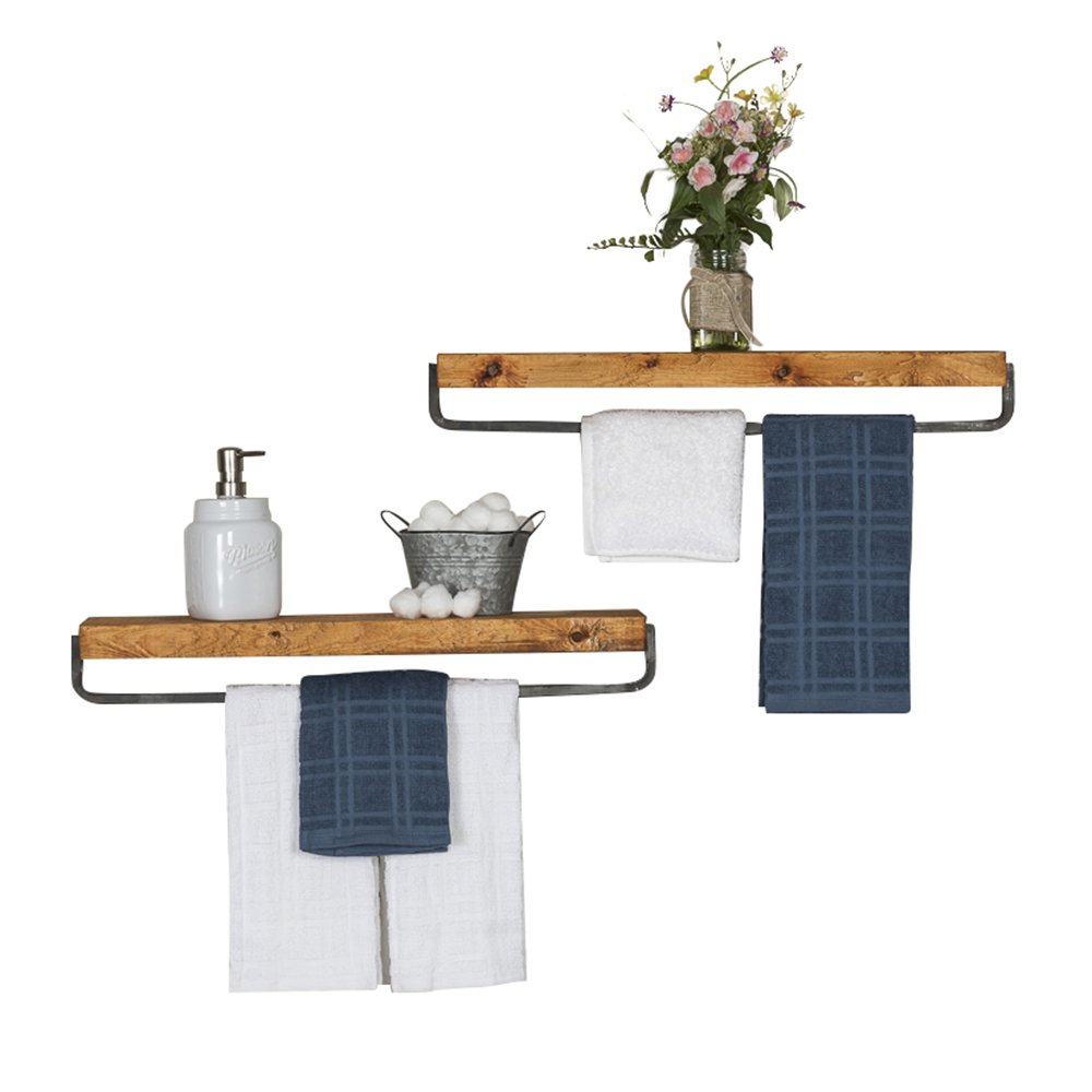 del Hutson Designs - Rustic Luxe Towel Holder Floating Shelves (Set of 2) USA Handmade, Pine Wood (4H x 24W x 5.5D, Walnut)