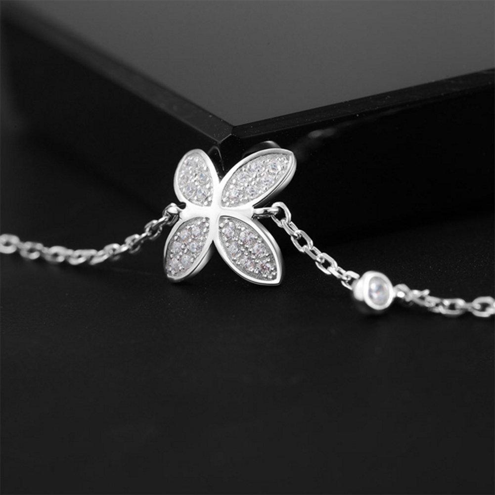 GEEZII Adjustable Charm Bracelets /& Bangles four leaves Silver Color For student Gift