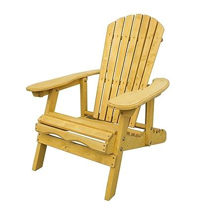 Trueshopping Silla para Patio Adirondack - Sillón Ancho con Respaldo Ajustable y Curvado - Muebles de Jardín, Césped y Terrazas de Fácil Montaje