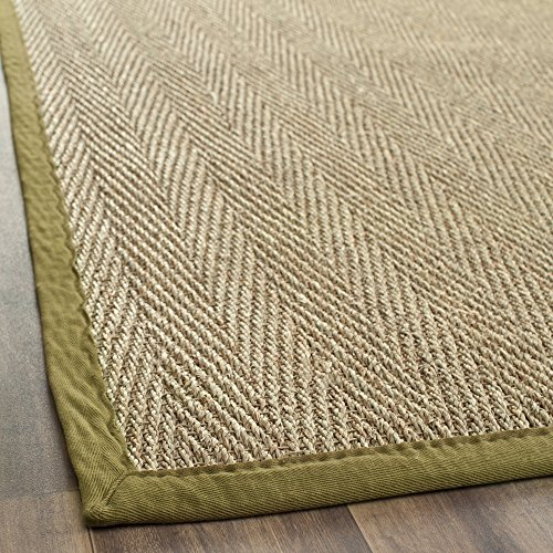 Natural Olive - Safavieh Natural Fiber Collection NF115G Herringbone Natural and Olive Seagrass Runner (2'6