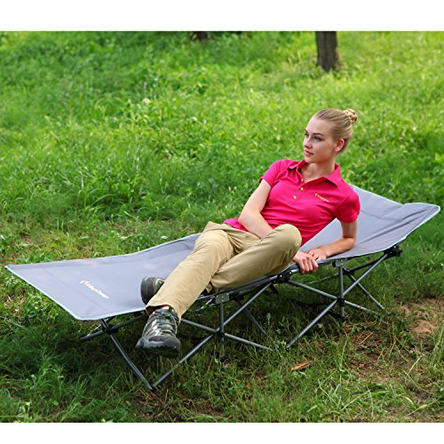 KingCamp Strong Stable Folding Camping Bed Cot with Carry Bag (Grey)