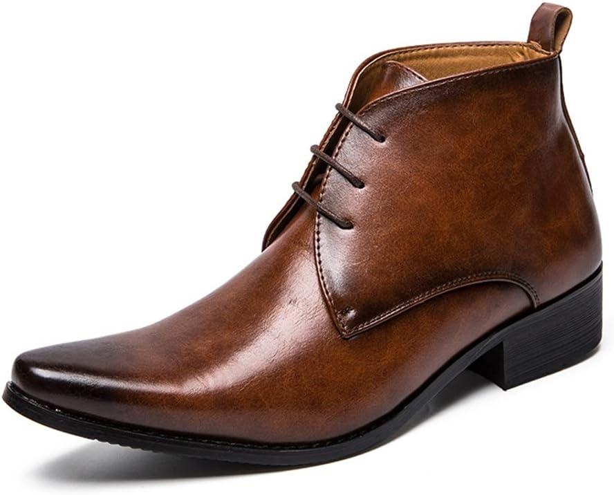 Color : Marron, Taille : 39 EU HILOTU Bottines pour Hommes Casual Couleur Pure Bout Pointu Style Britannique Haut-Top Chelsea Boot Prom Dress Chaussures