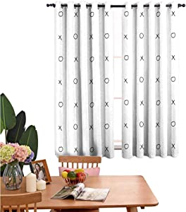 Buck Haggai Xo Decor Curtains Hand Drawn Cross Zero Pattern Classic Game Tic Tac Toe in Black and White Colors,Design Drapes 2 Panels Bedroom Kitchen Curtains 42 x54 Black White