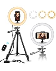 """10"""" Selfie Ring Light with 50"""" Extendable Tripod Stand & Flexible Phone Holder for Live Stream/Makeup, UBeesize Mini Desktop Led Camera Ringlight for YouTube Video, Compatible with iPhone/Android"""