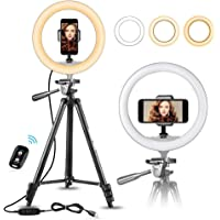 """10"""" Selfie Ring Light with 50"""" Extendable Tripod Stand & Flexible Phone Holder for Live Stream/Makeup, UBeesize Mini…"""