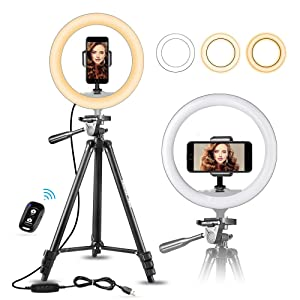 "10"" Selfie Ring Light with 50"" Extendable Tripod Stand & Flexible Phone Holder for Live Stream/Makeup, UBeesize Mini Desktop Led Camera Ringlight for YouTube Video, Compatible with iPhone/Android"