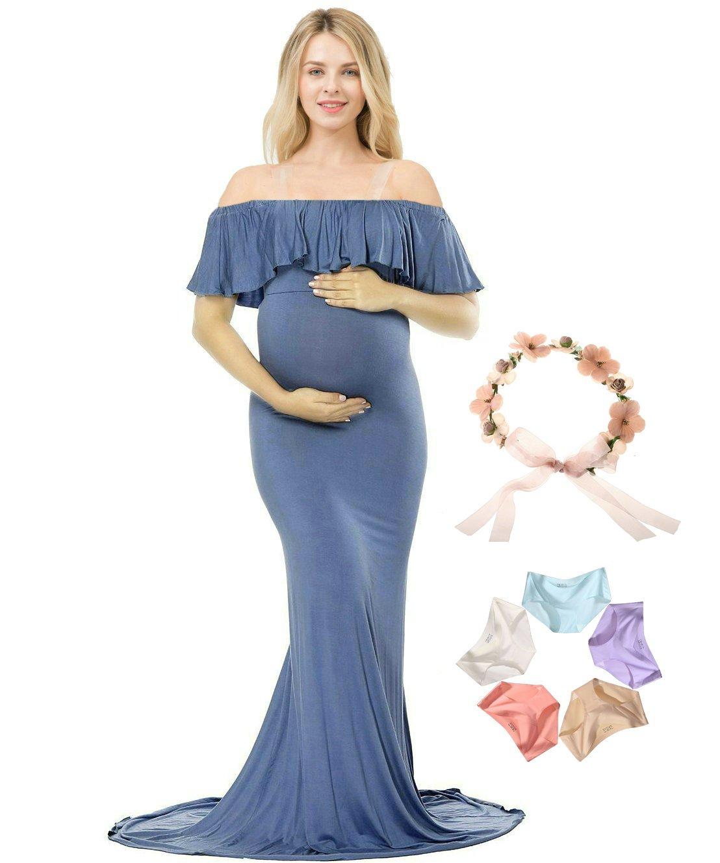 Sannyway Photoshoot Maternity Dress Ruffle Off Shoulder Photography Maxi Gown (Denim Blue, L)