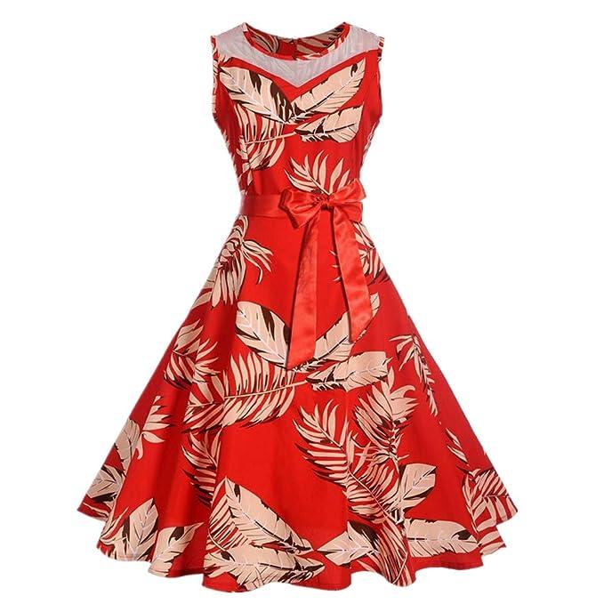 Damen Elegant Kleider Rockabilly 50er Vintage Retro Kleid Sommerkleid  Frauen Kleid Partykleid Cocktailkleid Ballkleid Sommer Abendkleid Knielang  Blumen ... 4a0a397ba8