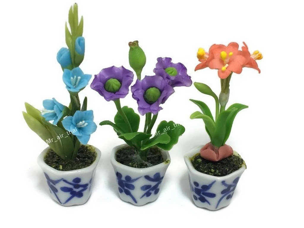 3pc Miniature Flower Clay Dollhouse Fairy Garden Mini Plant Trees Ceramic Paint Furniture Bundles Artificial Flowers Tiny Orchid #081