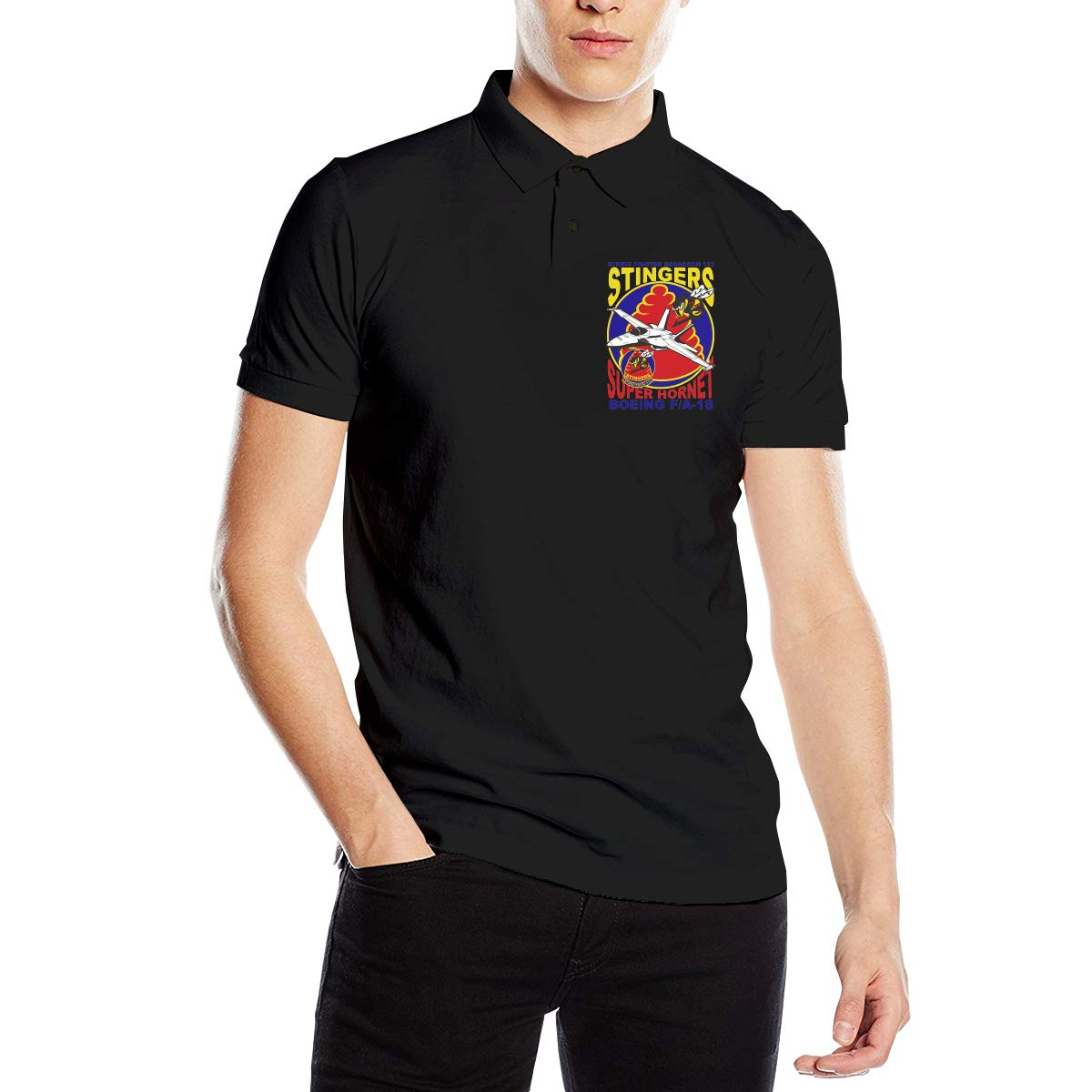 You Know And Good VFA-113 Stingers Mens Regular-Fit Cotton Polo Shirt Short Sleeve